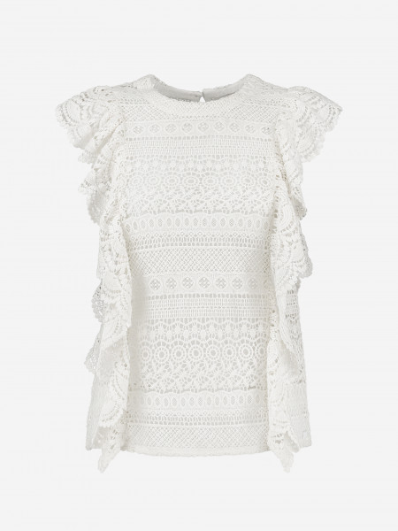laced top with ruffles