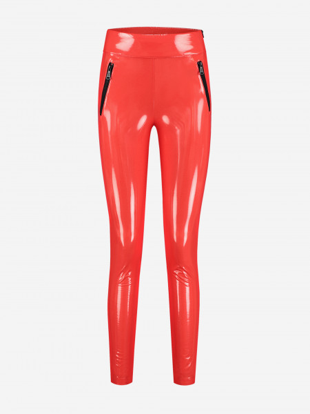 Shiny pants with zippers