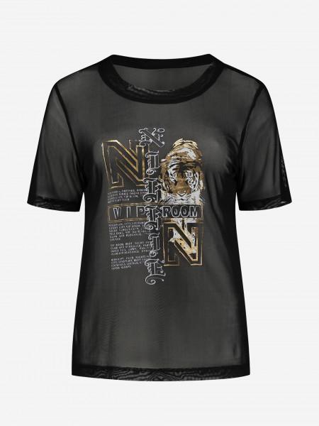 Loose mesh t-shirt with artwork