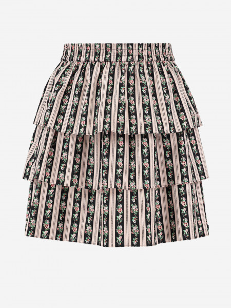 SKIRT WITH FLOWER PRINT AND LAYERS