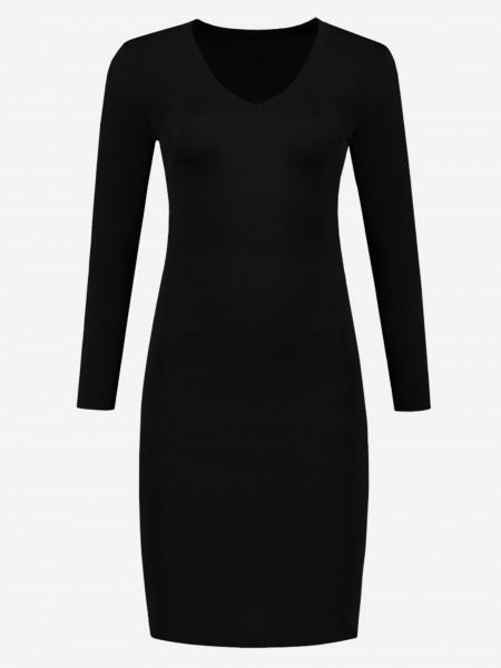 Zwarte jurk met v-hals