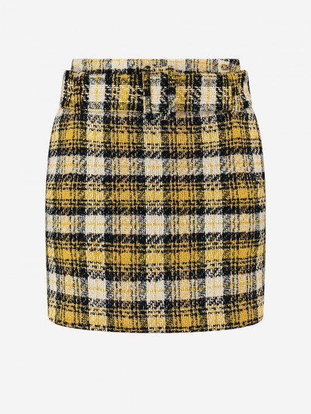 Yellow checked skirt with belt