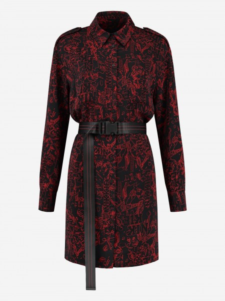 Blouse dress with print and belt