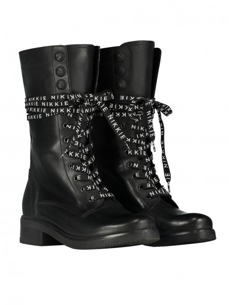 High Branded Lace Boots