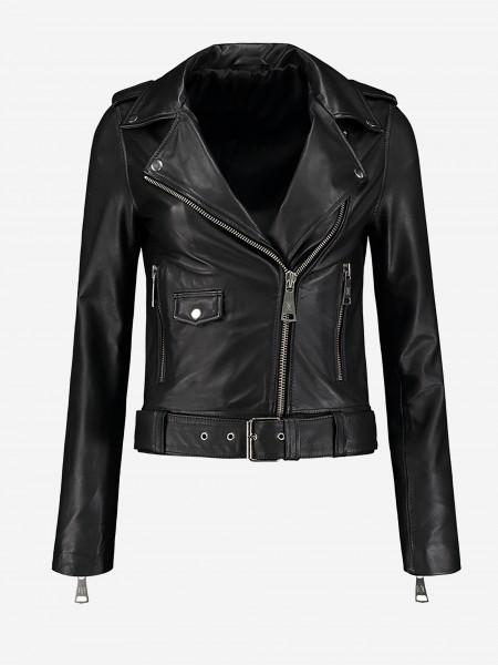 Zwarte leren biker jacket