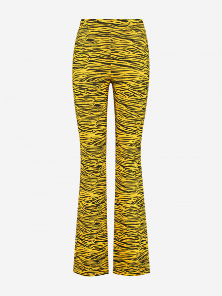 FLARED PANTS WITH ALL-OVER TIGER PRINT
