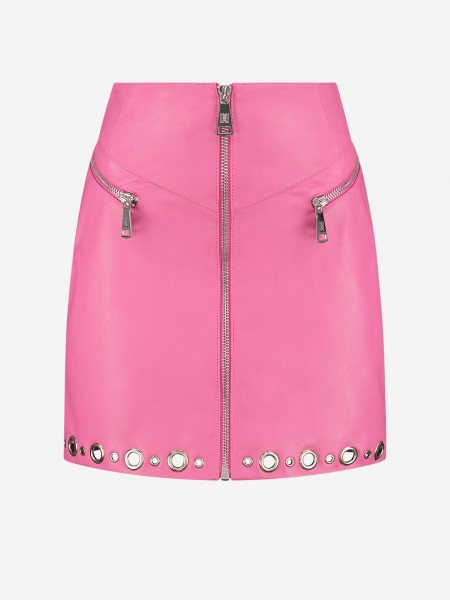 Skirt with eyelets and zippers