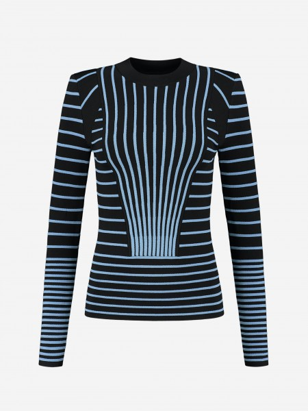 Black top with blue stripes