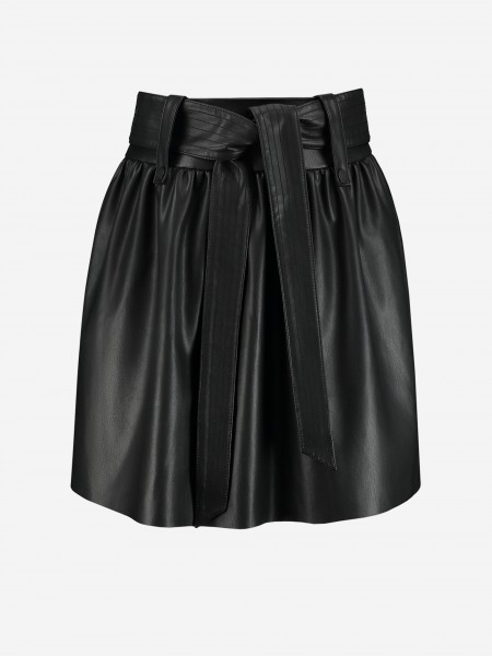 Vegan leather paperbag skirt