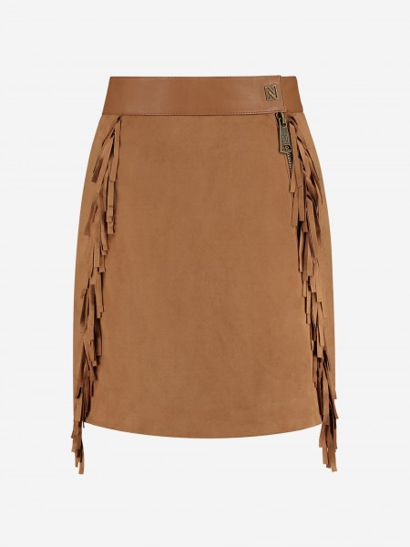 Brown skirt with fringes