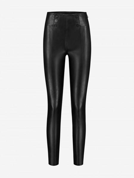 Vegan leather pants with n logo buttons