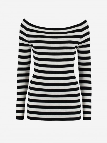 Black/White striped off shoulder top