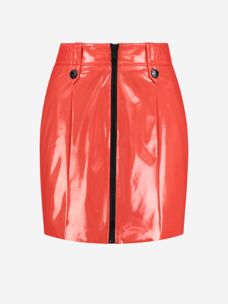 Shiny skirt with black zipper