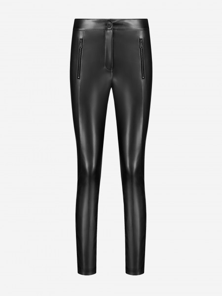 skinny pants with leather look