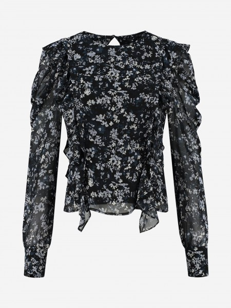 BLOUSE MET RUCHES EN ALL-OVER BLOEMENPRINT
