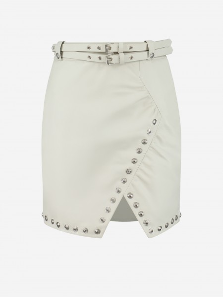 LEATHER SKIRT WITH SPLIT AND STUDS
