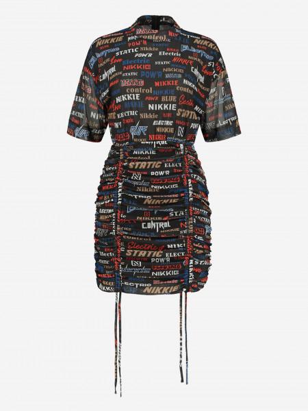 All over print mesh jurk met touwtjes
