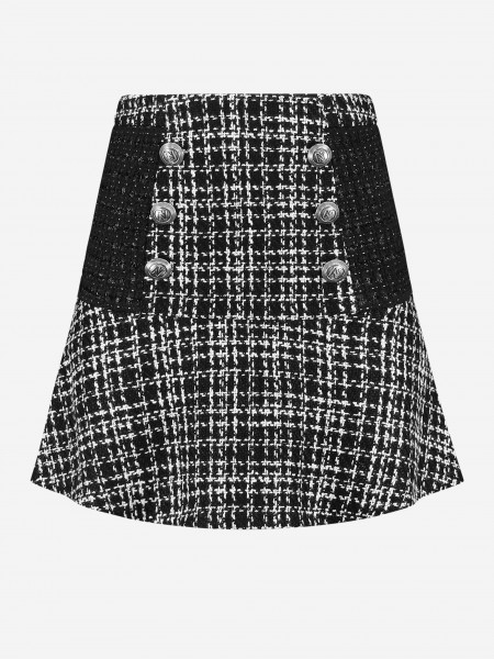 Tweed skirt with buttons