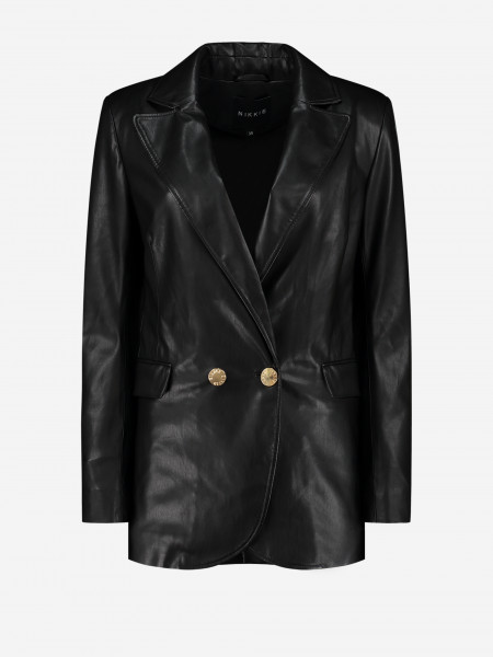 Vegan Leather Blazer with Golden buttons
