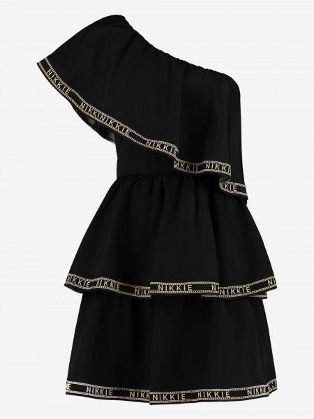 Off shoulder dress with logo ruffles
