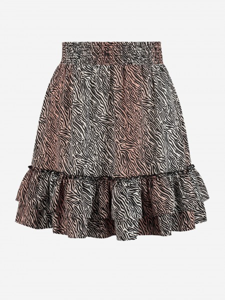 SKIRT WITH ANIMAL PRINT AND RUFFLES