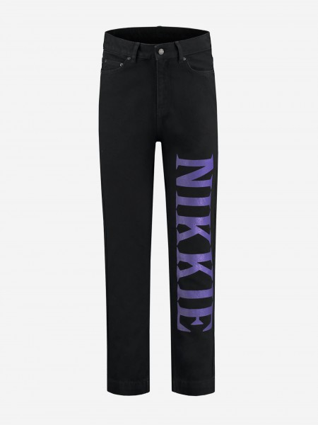 Black jeans with purple embroidery