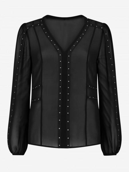 Zwarte blouse met zilveren studs