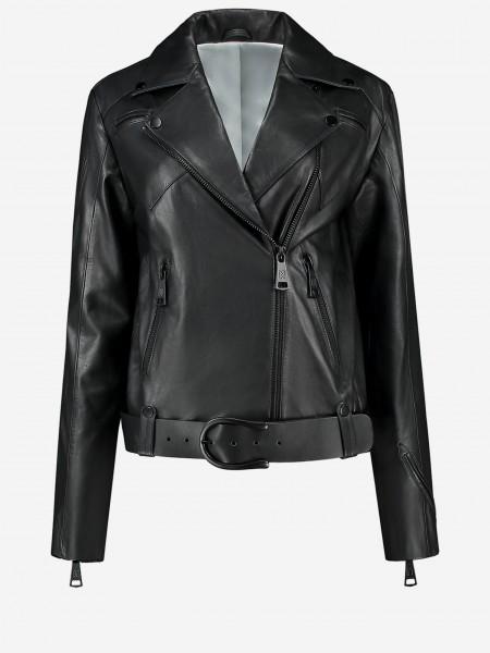 Black leather jacket with belt