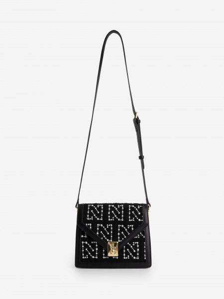 Small Tweed Crossbody Bag with N print