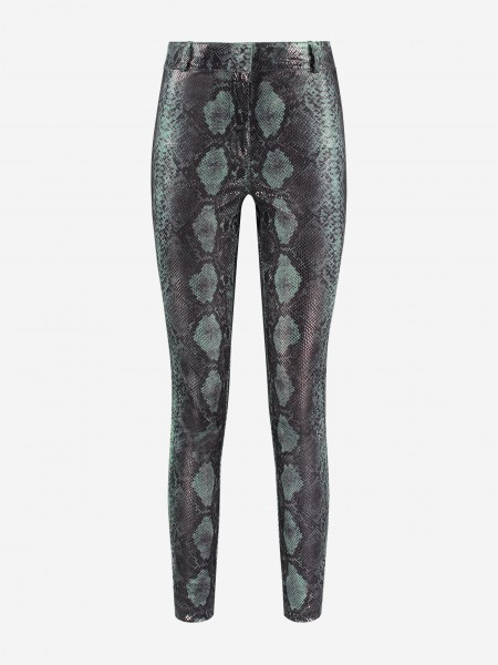 Vegan leather pants with all over snake print