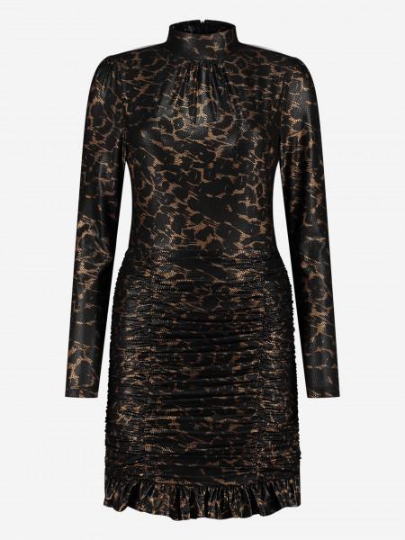 Luipaardprint jurk met goud
