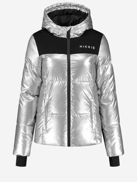 Zilverkleurige ski jas