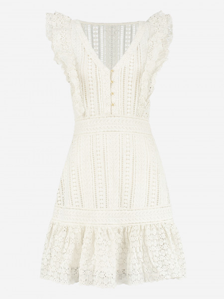 DRESS WITH LACE AND RUFFLES