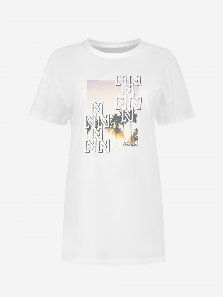 Lang T-shirt met N-logo artwork