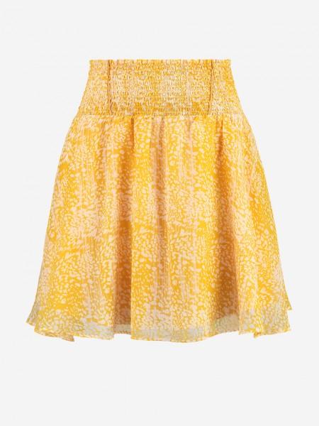 Yellow skirt with all over print and smocked waistband