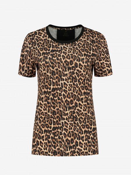 T-shirt with logo and animal print