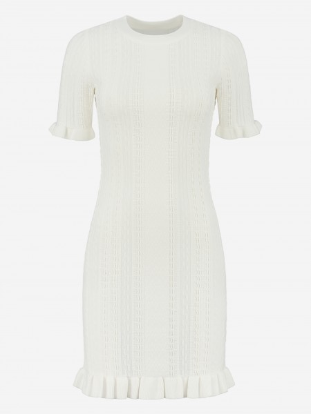 DRESS WITH STITCHED PATTERNS AND RUFFLES