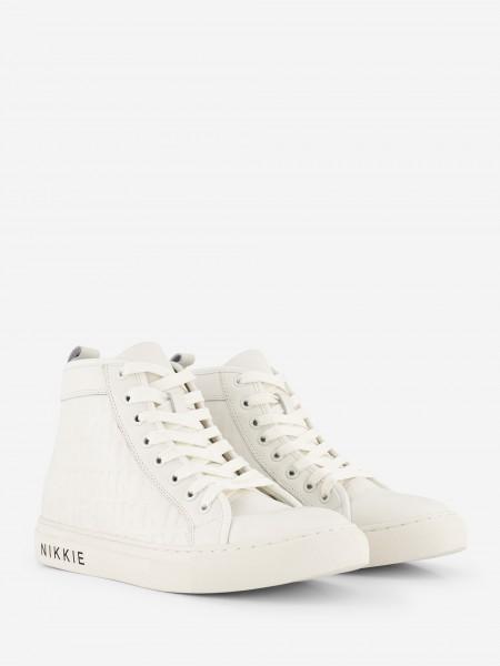 Hoge witte leren sneaker