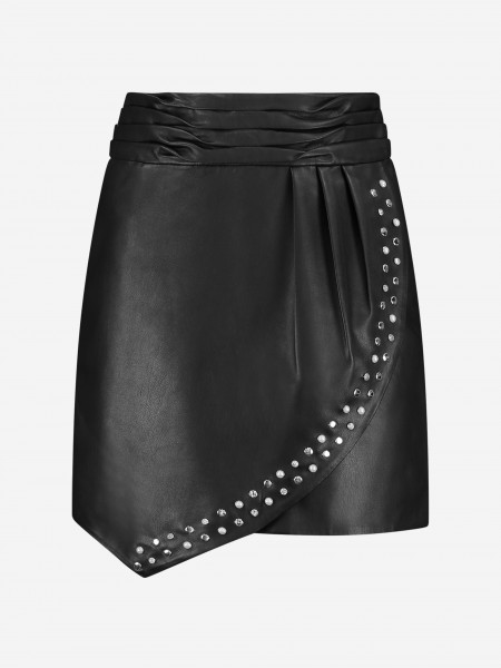 Vegan leather skirt with pearls and studs